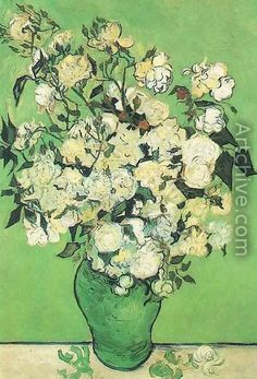 vince van gogh roses | Pink Roses In A Vase reproduction by Vincent Van Gogh - Artchive.com