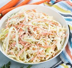 Carolina Coleslaw - Creamy, sweet and tangy coleslaw that is a perfect side dish for any meal! Gourmet Recipes, Cooking Recipes, Healthy Recipes, Yummy Recipes, Salad Recipes, Dinner Recipes, Vegetarian Cabbage, Side Salad, Easy Cooking