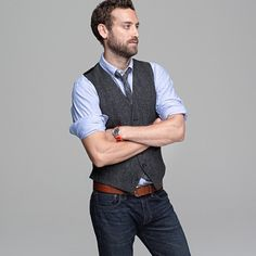 vest, tie, belt and jeans....now this is what im talking about, altho you could do it with dress pants too @David Botham