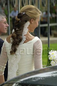The Wedding Dress -  Princess Victoria of Bourbon- Two  Sicilies - her viel is attached under her hair.