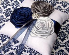 Ring Bearer Pillow White or Ivory Dark Plum Lilac by itsmyday