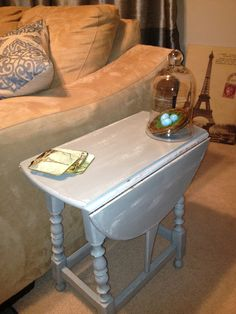 Antique Drop Leaf Side Table   CeCe Caldwell Smokey Mountain Gray Over  Vintage White Https: