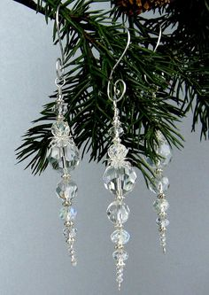 Best 12 Icicle Ornament Christmas Ornament Icy by TrishDesignsJewelry Beaded Christmas Decorations, Christmas Snowflakes, Beaded Ornaments, Diy Christmas Ornaments, Handmade Christmas, Glass Ornaments, Diy Icicle Ornaments, Snowflake Decorations, Xmas