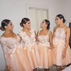 Buy wholesale orange bridesmaid dress,orange bridesmaid dresses uk along with pale green bridesmaid dresses on DHgate.com and the particular good one-3d floral appliques short evening party dresses lace bridesmaid dresses 4 styles bridesmaid gowns maid of honor wedding guest dresses is recommended by lillian_beauty at a discount.