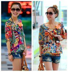 jersey orange rose short sleeve big size printed casual blouse women t-shirt tops new fashion 2013 summer autumn 2014 spring $10.97 - 12.97