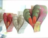 Autumn Paper Hearts Garland Banner Vintage Sheet Music French Paperie Kissed Mango Sangria Hand Crafted Large Hearts Tangerine Photo Props
