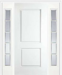 Masonite   Fiberglass 2 Panel Square Top Entry Door With Two Sidelights    Modern   Products