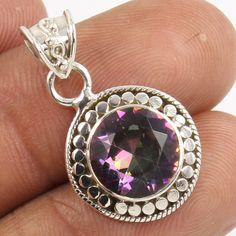 MYSTIC QUARTZ Round Gemstone 925 Pure Sterling Silver Jewelry Beautiful Pendant #Unbranded #Pendant