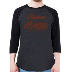 Classic Indian Motorcycle Men's 3/4 Sleeve, Baseball Shirt