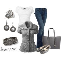 Grey Cable Knit Sweater, Jeans and Flats.  Simple, comfortable and cute :)