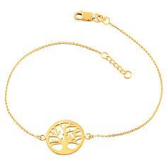 Fremada 14k Yellow Gold Sideways Tree Of Life Adjustable Bracelet