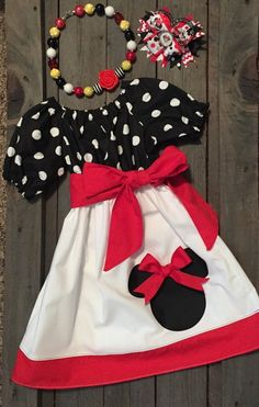 Girls Minnie Mouse Dress, Necklace, and Matching Bow Cute Little Girl Dresses, Little Girl Outfits, Cute Little Girls, Girls Dresses, Doll Dresses, Mickey Mouse Dress, Minnie Mouse Costume, Minnie Mouse Silhouette, Minnie Mouse Birthday Decorations