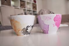 DIY Watercolor mugs with nail polish | Blueberry segmentS