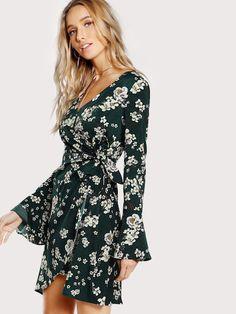 8bcf42fce52 Women Flare Sleeve Surplice Wrap Floral Dress Green Knee Length V Neck Long  Sleeve Elegant A Line Belted Dress