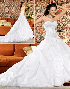 Ball gown strapless cathedral train charming taffeta with ruffle wedding dress