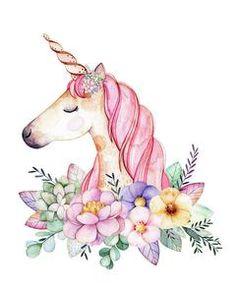 Magical Watercolor Unicorn Boho Wall Art Print Baby Girl Nursery Fantasy Home Bedroom Kids Room Decor