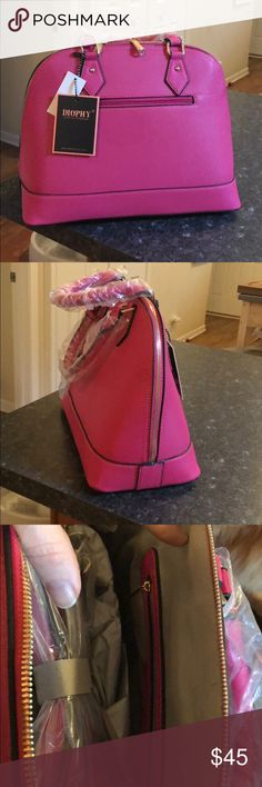 """Pink purse brand  Diophy Large Front Zipper Womens Tote Purse Handbag Accented with Removable Strap. Fabric Lined Interior with Multiple Interior Pockets. 1 Zippered Pocket with Gold Metal Décor in Front Approximate Size info: Length 16"""" x Width 6"""" x Height 11"""" Material: Zipper Closure. Bags Totes"""
