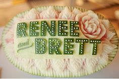 Did you see that this was carved into a watermelon!? Via @grnweddingshoes http://greenweddingshoes.com/a-wedding-at-design-within-reach-renee-brett/