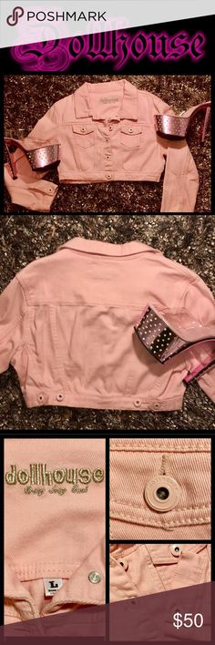 "Dollhouse💖Pink💖Denim Crop Jacket💖 Dollhouse💖Swet 🍭and Sexy🍭Light Pink Denim Crop Jacket💖Embroidered Silver Metallic""DOLLHOUSEVERY SEXY GIRL""☺️two working front pockets,all buttons embossed Dollhouse Logo💖waist adjustable w/back buttons💖measures 18"" shoulder to shoulder💖15"" Length💖sz Large🚫trades🚫 Jackets & Coats"