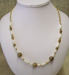 Necklace Handmade With White Bone Beads with Antique Gold Color Beads Adjustable