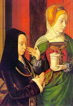 1490 Madeleine of Burgundy Presented by Saint Mary Magdalene ~ Jean Hey, known as the Master of Moulins Renaissance Kunst, Renaissance Fashion, High Renaissance, Renaissance Clothing, Robert Campin, Jean Fouquet, 15th Century Fashion, 16th Century, Maria Magdalena