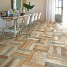 EliteTile Royalty x Ceramic Wood Look Tile in Brown/Beige Seasoned Wood, Small Tiles, Into The Woods, Wood Look Tile, Weathered Wood, Floor Design, Kitchen Flooring, Slate Flooring, Kitchen Tiles