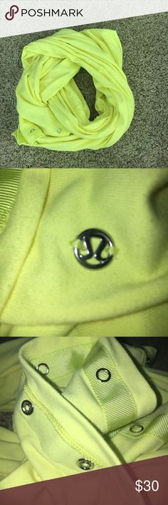 Lululemon Original  Yellow Vinyasa Scarf Excellent Condition... Lululemon Yellow Vinyasa Scarf. Working buttons can make the Scarf go from around your neck to cover your body. lululemon athletica Accessories Scarves & Wraps