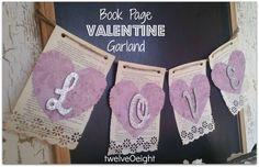 twelveOeight: Book Page Valentine Garland