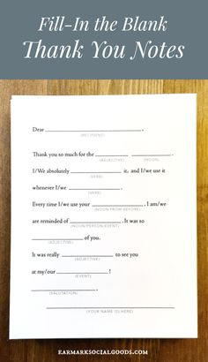 12 Humorous Fill-In Thank You Cards - Super fun Fill-in the blank thank you notes! A throwback to the days of mad-libs! Thank You Card Sayings, Thank You Messages Gratitude, Thank You Note Wording, Wedding Thank You Cards Wording, Thank You Quotes, Thank You Letter, Sympathy Messages, 5 Logo, Nouns And Adjectives