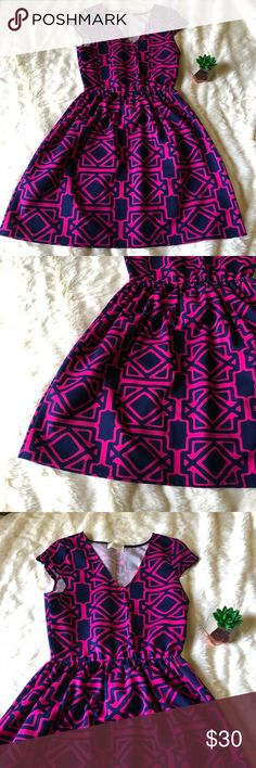 Everly Fit and Flare Dress NWOT Everly Fit and Flare Dress NWOT. Size medium, navy blue with pink outlining. Everly Dresses Midi
