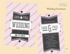 Pale Pink and Black Wedding Invitation with Stripes by EmDesign