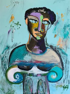 Louie DeVito Abstract Paintings, Original Paintings, Crayon Painting, Black Jesus, Blue Lips, Wax Crayons, Spray Paint On Canvas, Painted Sticks, Contemporary Abstract Art