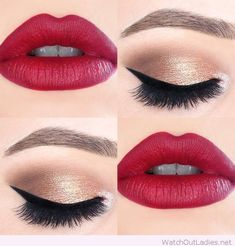 Gold and black eye makeup with hot red lips