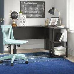 Beachcrest Home Cyra L Shaped Desk & Reviews | Wayfair Computer Desk With Hutch, Bookshelf Desk, Desk Hutch, Desk With Drawers, Bookshelves, Adjustable Standing Desk Converter, L Shaped Executive Desk, Solid Wood Desk, Floating Desk