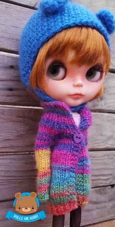RAINBOW coat for Blythe, made in mohair. Registered shipping with tracking number, thanks
