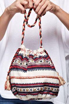 Tribal Print Boho Bucket Bag