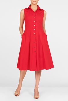 Our stretch poplin shirtdress is capped with a point collar and the seamed waist… Dress Outfits, Casual Dresses, Dresses For Work, Lace Dress, White Dress, Flare Skirt, Playing Dress Up, Poplin, Cotton Dresses