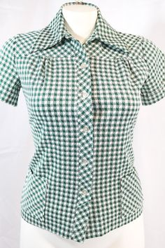 vintage | 60s mod rockabilly green gingham plaid shirt top