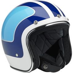 Biltwell Bonanza Helmet: LE Fury White/Blue • Injection-molded ABS outer shell with hand-painted finish • Expanded polystyrene inner shell • Hand-sewn removable brushed Lycra liner with contrasting diamond-stitched quilted open-cell foam padding • Meets DOT safety standards • Rugged plated steel D-ring neck strap with adjustment strap end retainer • Rubber or chrome accent edging • XS through XXL sizes