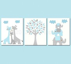 Baby blue and grey Nursery Art Print Set, 8x10, Kids room Decor, aqua, baby/Wall Art - giraffe family, elephant family, love tree