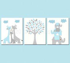 Baby blue and grey Nursery Art Print Set, 8x10, Kids room Decor, aqua, baby/Wall Art - giraffe family, elephant family, love tree on Etsy, $46.90 AUD