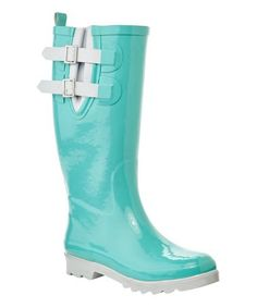 Aqua & White Blackstone Double-Buckle Rain Boot #zulily #zulilyfinds