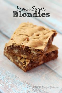 Brown Sugar Blondies From: Diary Of A Recipe Collector, please visit Chocolate Oatmeal Cookies, Oatmeal Cookie Recipes, Brownie Recipes, Pecan Recipes, Bar Recipes, Sweet Recipes, Yummy Recipes, Cooking Recipes, Deserts