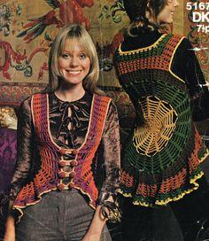 Crochet Web Pattern Vintage Gypsy Crochet by KinsieWoolShop. , via Etsy. Crochet Bolero Pattern, Vintage Crochet Patterns, Vest Pattern, Top Pattern, Pattern Dress, Summer Wear For Ladies, Gypsy Crochet, Crochet Waistcoat, Web Patterns