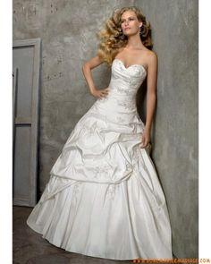 Boutique robe de mariée sans bretelle vintage au drapé décorée de broderie taffetas