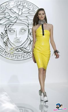 A model displays a creation from the Versace Autumn-Winter 2013 collection at Milan Fashion Week