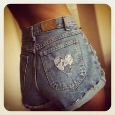 High Waist Denim Lace Heart Pocket