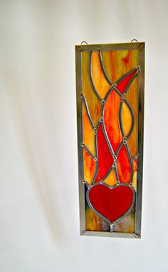 Stained Glass Fire Element Stained Glass Heart and by GlassByKat, $75.00