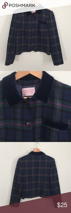 """VINTAGE PENDLETON WOOL JACKET S This is a VINTAGE WOOL Pendleton jacket BLazer style petite small. It has a blue velvet color and on pocket. 5 button. Measurements are shoulders  16"""" across. Chest 19"""" across waist 17"""" across and length  20""""   Sleeves 22.5"""". Color of wool is blue. Black fushia and green. Pendleton Jackets & Coats Blazers"""