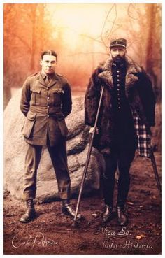 WW1. A British and a French POW in German Danholm/Stralsund camp.